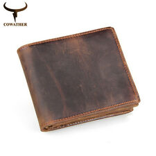 100% Real Cow Genuine Leather Men's Wallets Retro Old Style Male Purse