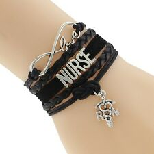 Black Layered & Braided Cord Craft Infinity Bracelet Occupation Nurse Charm