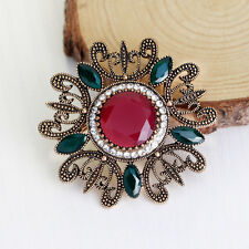 Hot Vintage Round Big Alloy Flower Brooches Pin Lapel Pins For Women Accessories