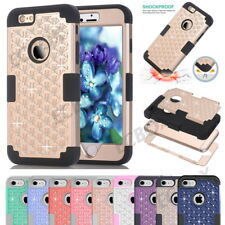 Rugged Blingbling Crystals Diamond Heavy Duty Shockproof Combo Case For iPhone