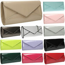 Women Perr Envelope Ladies Patent Leather Clutch Bag Party Prom Designer Handbag
