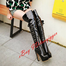 Punk Women# Lace-up Over Knee High Boots Shiny Leather Thigh High Boots Platform