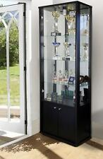 RETAIL OR DOMESTIC USE GLASS DISPLAY CABINET WITH STORAGE IN BLACK