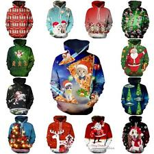 Thicken Christmas 3D Winter Mens Womens Pullover Sweatshirt Jacket Hoodie Jumper