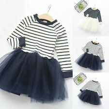Toddler Kids Baby Girls Long Sleeve Dress Princess Party Tulle Tutu Dresses 2-7Y