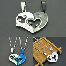 Lover Couple Necklace Love Heart Pendant Stainless Steel Chain Fashion Jewelry