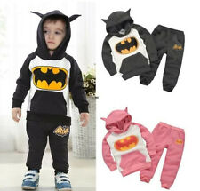 2Pcs Baby Kids Boys Girls Batman Fleece Hoodies Pants Sweatshirt Sets Suits
