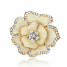 Hot Enamel Rose Flower White Rhinestone Women Wedding Party Brooches Pin Jewelry