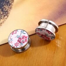 Pair Steel Ear Gauges Expanders Enamel Flower Double Flared Ear Plugs Tunnels