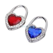 Heart Shape Rhinestone Folding Bag Purse Handbag Hook Hanger Holder Red Blue