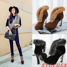High Block Heel Furry Snow Boots Winter Warm Snow Boots Shoes Pointy Toe Size