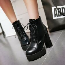 Womens Chunky High Heels Platform Ankle Boots Lace Up Punk Gothic Creepers Shoes