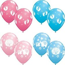 "11"" QUALATEX BLUE PINK QUALITY HELIUM LATEX ITS A BOY GIRL FOOTPRINT BALLOONS"