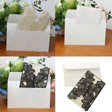10pcs Laser Cut Flower Invitation Cards 2 Fold with Envelope Wedding Party Cards