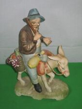 Collectible Porcelain Norleans Figurine Winemaker on a Donkey, Japan