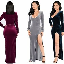 New Women's Long Velvet Evening Cocktail Party Formal Bridesmaid Prom Gown Dress