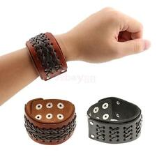 Punk Braided Mens Wide Leather Wristband Charm Bangle Bracelet with Snap Buttons
