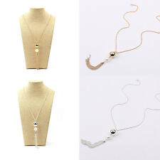 Women Elegant Two Round Beads Pearl Pendant long Chain Fashion Necklace Jewelry