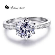 6-Prongs 8.5mm Round Shape Cubic Zirconia Engagement Wedding Ring Anniversary 7#