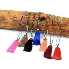 Bohemian Nylon Tassel pendant Chunky Pearls Beads Long Chain retro necklace