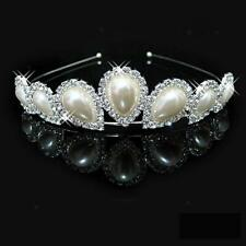 Lovely Flower Girl Wedding Party Bridal Pearl Crystal Crown Headband Tiara New