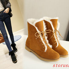 Women Low Heel Suede Ankle Boots Shoes Fur Lining Snow Boots Lace Up Bootie New