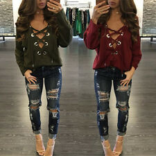 Sexy Women Lace Up Bandage Deep V Neck Clubwear Tops Blouse T Shirts New K