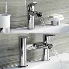 Modern Groove Waterfall Bathroom Bath Filler Tap Wash Basin Mono Mixer Set Unit