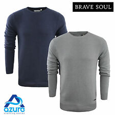 Mens Jumper Brave Soul 'Warren' Cotton Rolled Crew Neck Sweater Top New S-XL