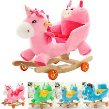 Newly Kids Rocking Horse Baby Wooden Ride On Rocker Child Playing Toy W/Songs