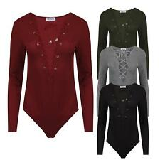 Womens Ladies Celebrity Style Knitted Ribbed Deep V Neck Lace up Front Bodysuit