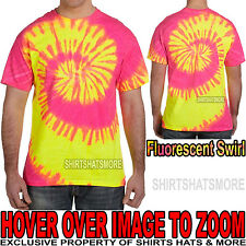 Mens 100% Cotton Fluorescent Swirl Tie-Dye T-Shirt Adult Tye Die Tee S, M, L XL
