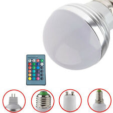 E27 E14 MR16 GU10 RGB 3W LED Light Bulb Globe Lamp + 24 Key Remote Controller