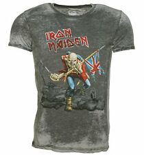 Official Men's Grey Burnout Iron Maiden Trooper T-Shirt