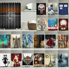 "71"" Modern Shower Curtain Bathroom Waterproof Polyester Fabric Drapes & 12 Hooks"