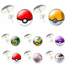 Pokemon Pokeball Silver Plated Glass Cabochon Anime Earrings Jewelry Ear Decor