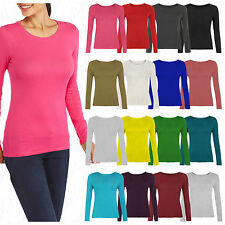 New Women Long Sleeve Basic Round Neck Ladies Stretch Top T-Shirt Plus Size 8-28