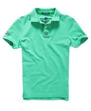 New Mens Superdry New Vintage Destroyed Pique Polo Shirt Mint
