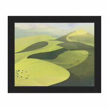 Click Wall Art Sandy Lime Dunes Framed Painting Print on Canvas