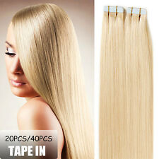 "16""-24"" 20-40Pcs Seamless Skin Weft Tape In Real Remy Human Hair Extensions I361"