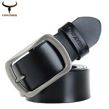 Fashion Cow Leather Belt for Men Dress Casual Waist Belt  Alloy Pin Buckle Belt
