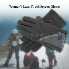 Winter Gloves Women's Stylish Lace Touch Screen Gloves Lined Thick Warm New L0R2