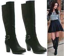 WOMENS LADIES BLACK FAUX LEATHER HIGH HEEL PLATFORM KNEE HIGH RIDING BOOTS SIZE