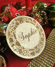 Personalised Christmas Tree Bauble, Gift Tag - with ornaments; write your name