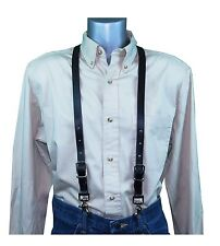 Black Leather Skinny Thin Suspenders with scissor snaps no slip trigger snaps