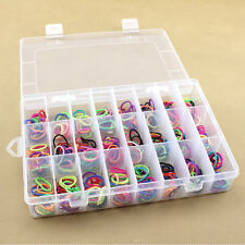 Adjustable 24 Compartments Plastic Storage Jewelry Beads Tool Container Box Case