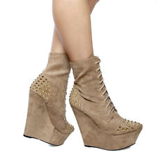 Trendy Suede Lace-up Spike Stud Sky HI Covered Wedge Platform Ankle Boots Taupe