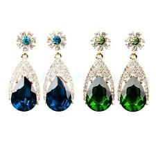 1Pair Women Lady Elegant Ear Stud Crystal Gemstone Sparkly Drop Earrings Jewelry