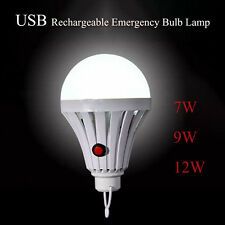 USB Rechargeable Emergency LED Bulb Lamp Outdoor Camping Tent Lights 7/9/12W