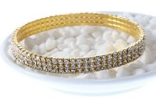 3-Row Crystal tennis Gold Color Stretch Anklet Foot chain Ankle leg bracelet